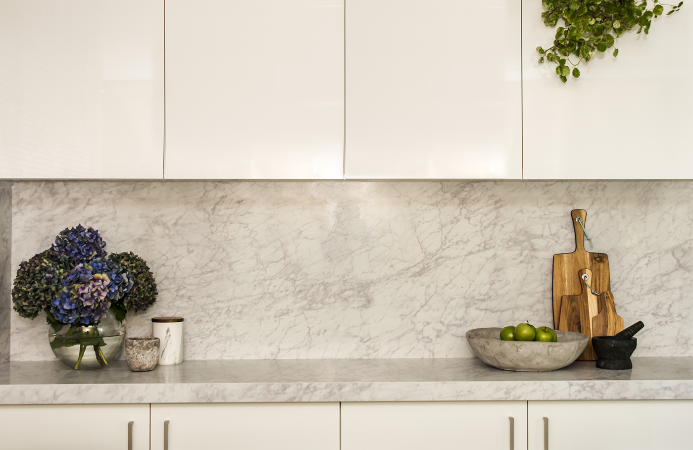 beautiful counter and cabinets