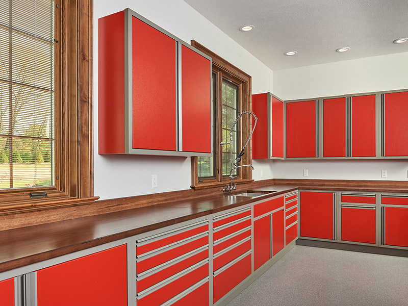large garage workshop with hardwood counters