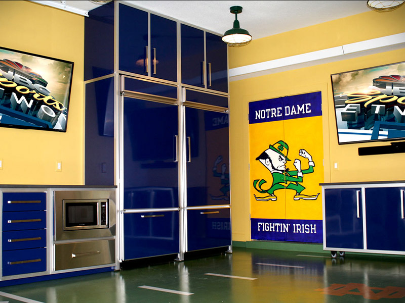 Clean, sophisticated garage with sports decorations