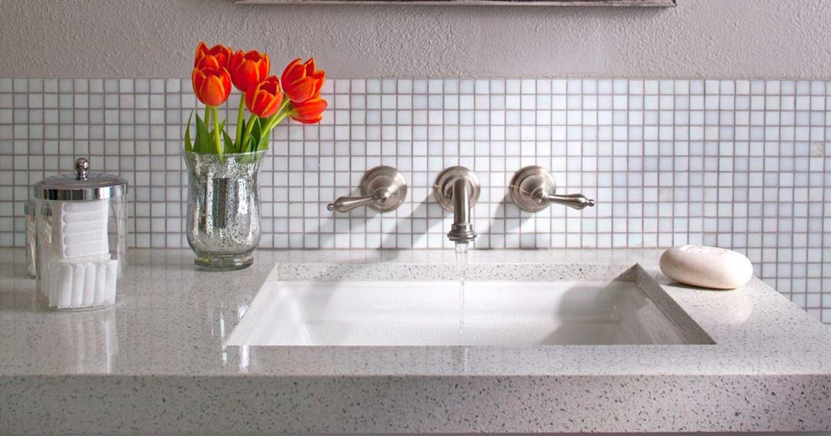 beautiful bathroom sink with granite counter