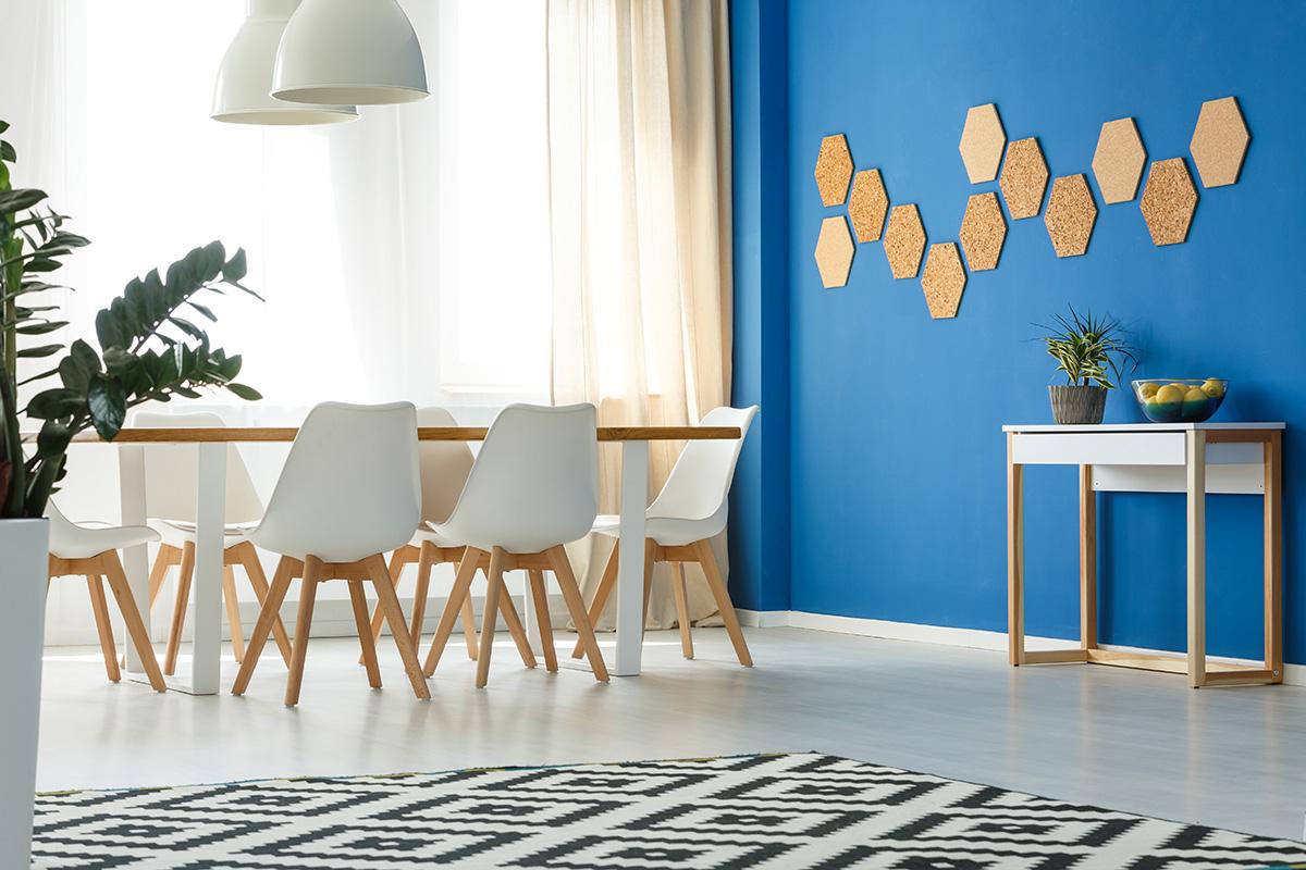 bright blue kitchen