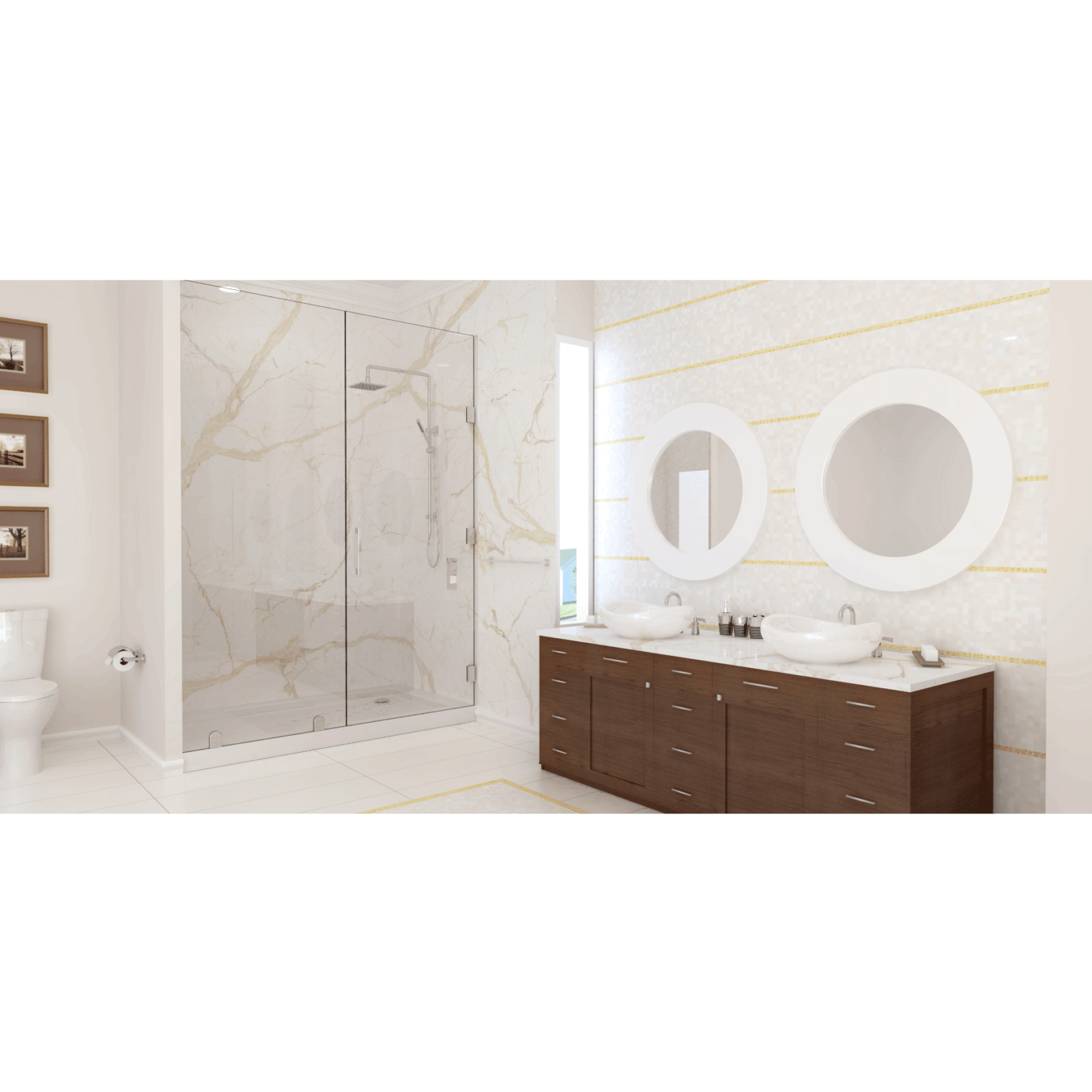 Calacatta Engineered Stone and Trend Mix Bliss Mosaic
