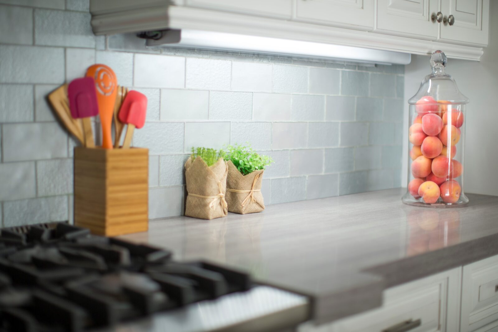 Exposed colorful kitchen utensils