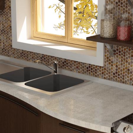 Portland White Engineered Stone and Trend Hexagonal 270 Mosaic