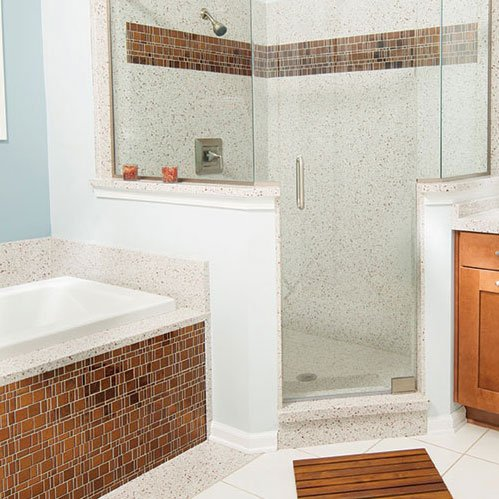 White Copper Engineered Stone Trend Liberty Amber Mosaic