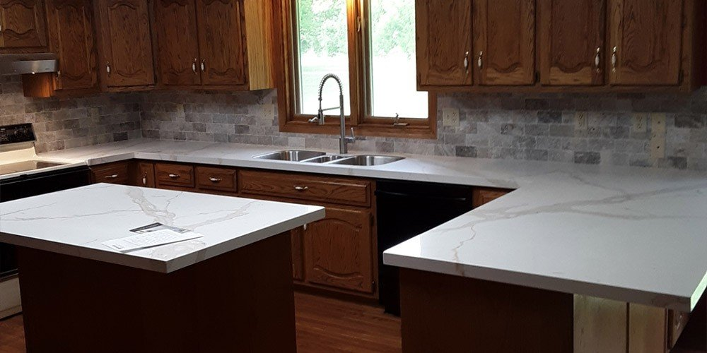 Kansas City kitchen remodeled with marbled countertops