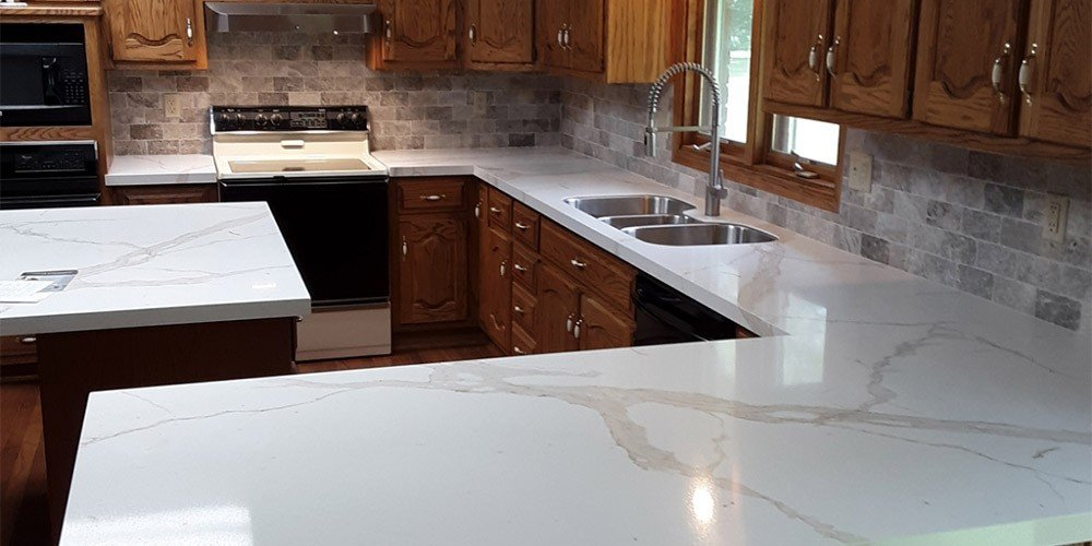 Marble countertops create brighter kitchen in Harrisonville, MO