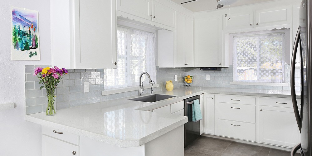 white recycled glass countertops in kitchen
