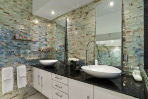 Bathroom walls are Metropolis Opal by Granite Transformations/Trend.