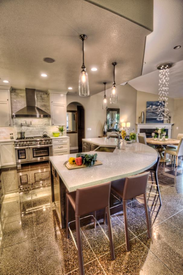 Accessorize a classic kitchen lighting fixtures or bar stools to create a new look.