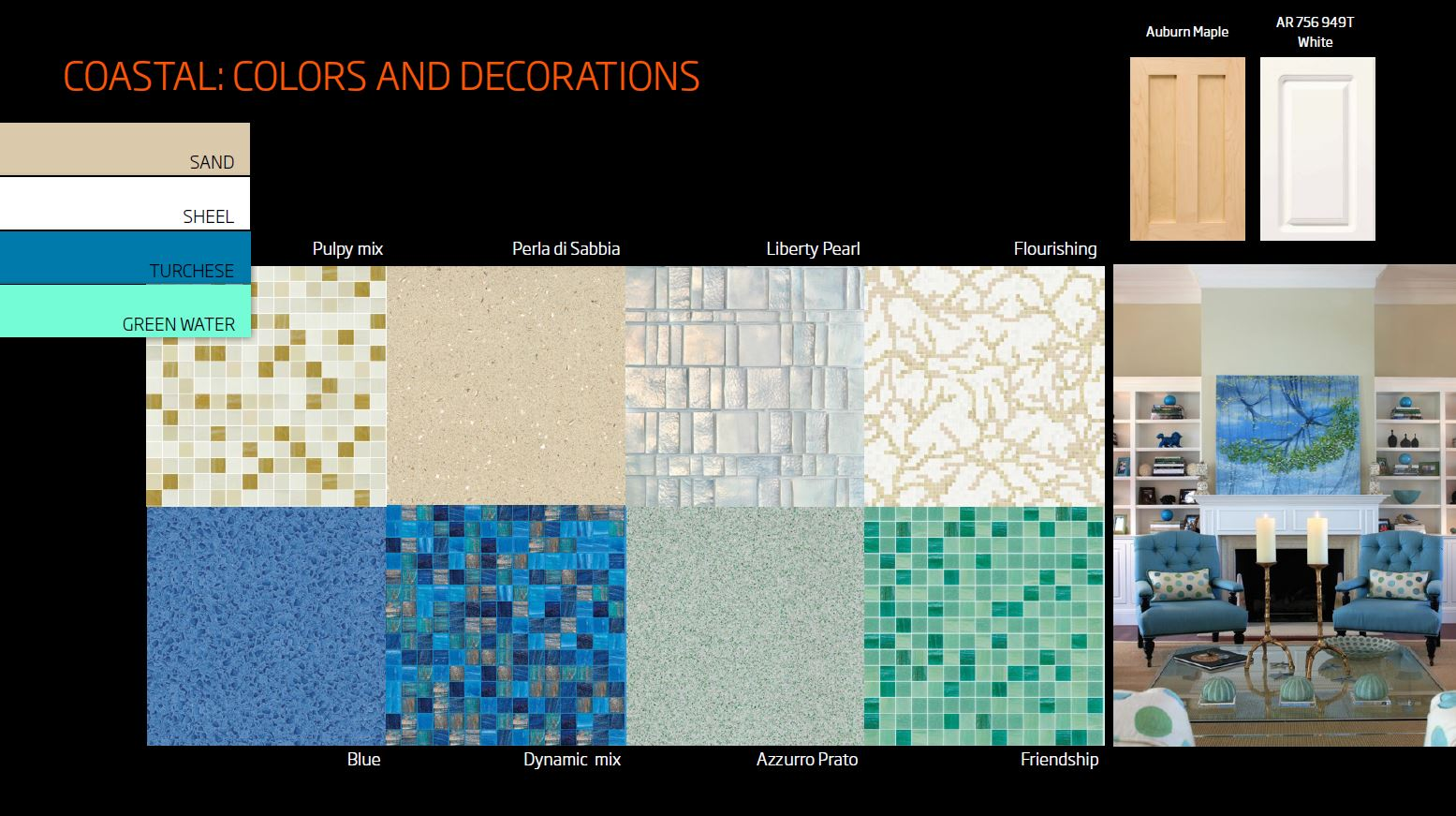 Coastal design colors and decorations