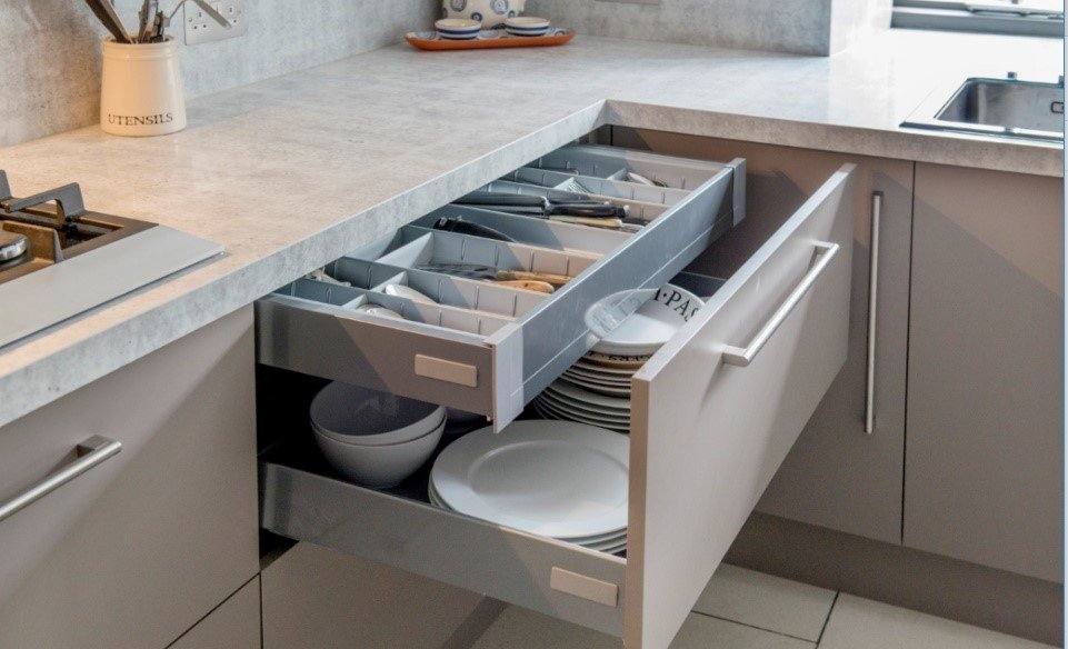 Granite Transformations offers cabinet organizing partitions and shelves to make your dishes and utensils easy to reach