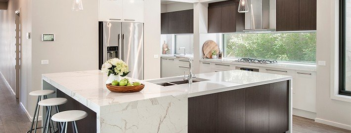 GT Kitchen Waterfall Marble Countertop