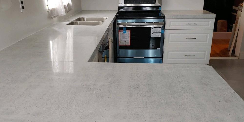 light grey concrete countertops