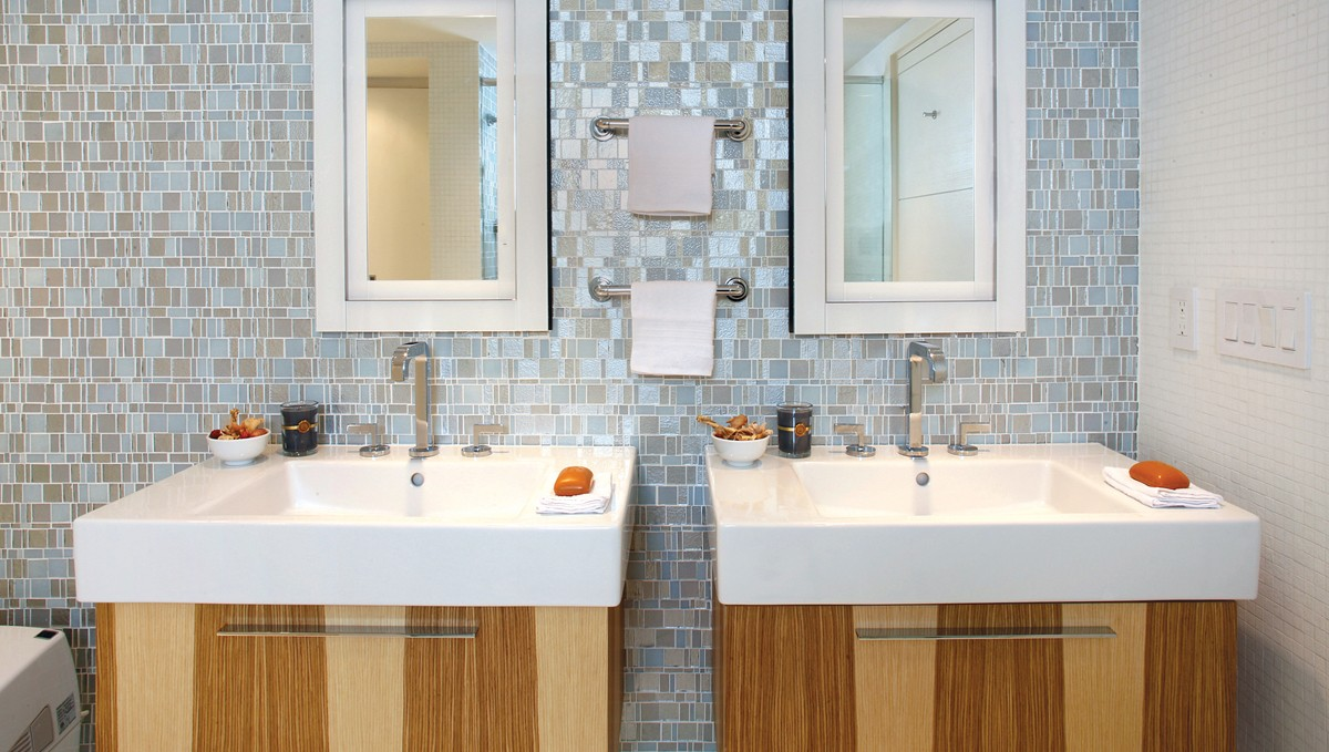 Grey Liberty Recycled Glass Bathroom Mosaic Backsplash