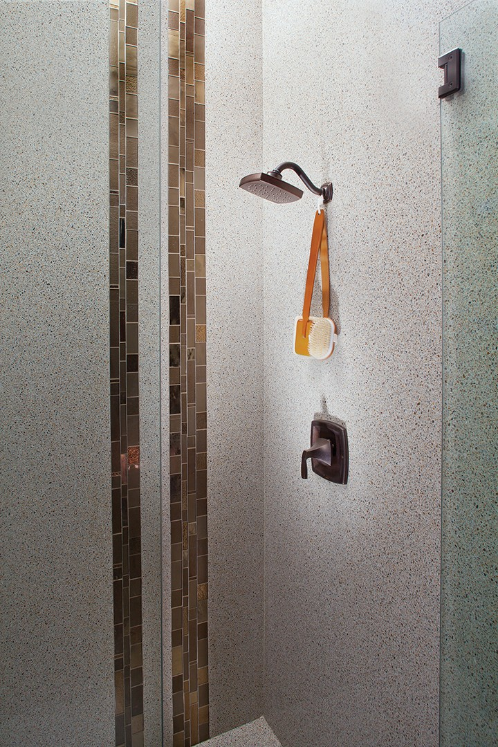 Amber Metropolis Recycled Glass Mosaic Tile With King Ivory Granite Overlay