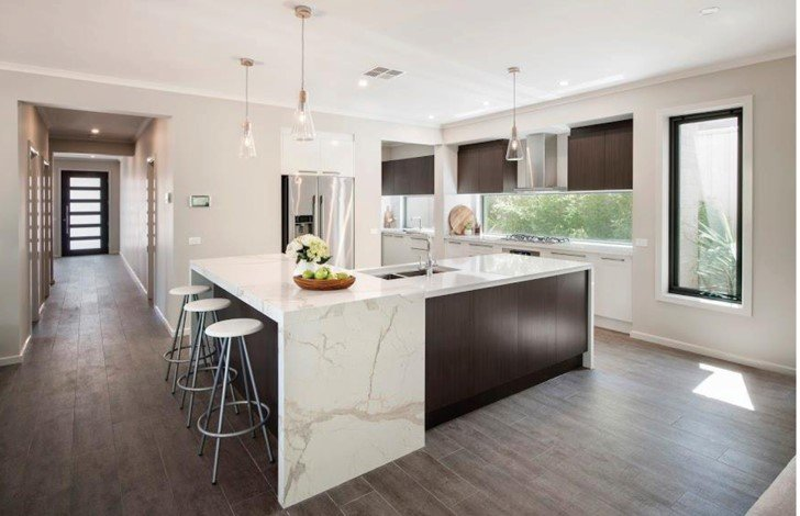 Natural stone kitchen with gray tone floors