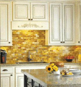GT Wood Cabinets with Yellow Backsplash