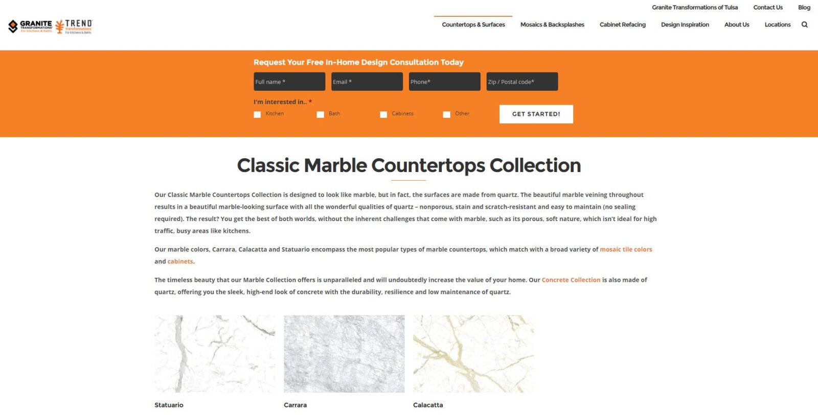 Marble Collection Page