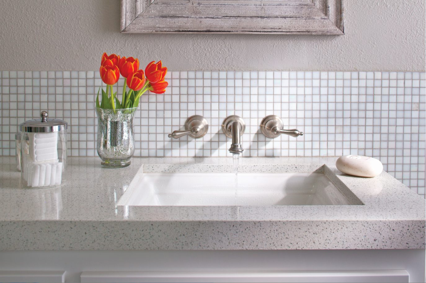 2015 will be the year of under-mounted sinks with sleek, modern legs instead of cabinetry.