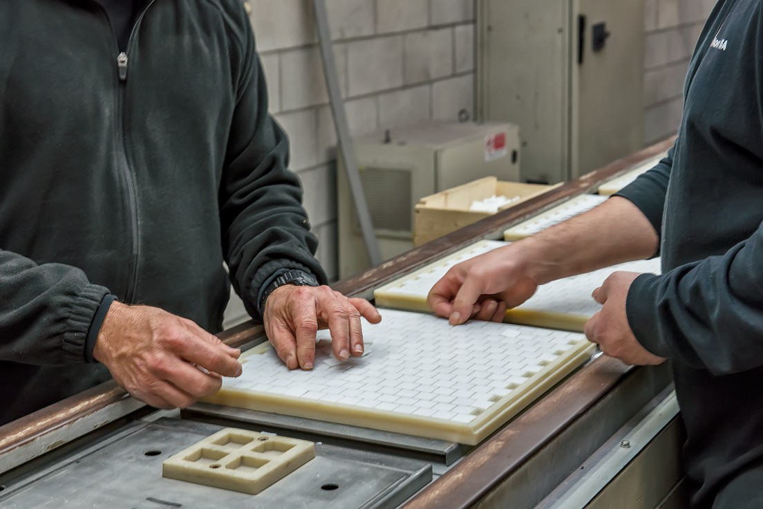 Mosaic tiles are hand cut