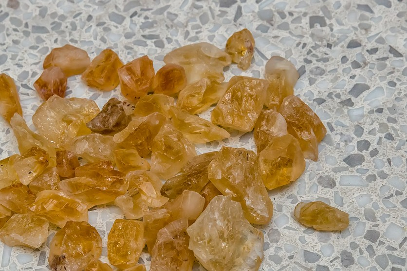 Semi-precious stones used in slabs