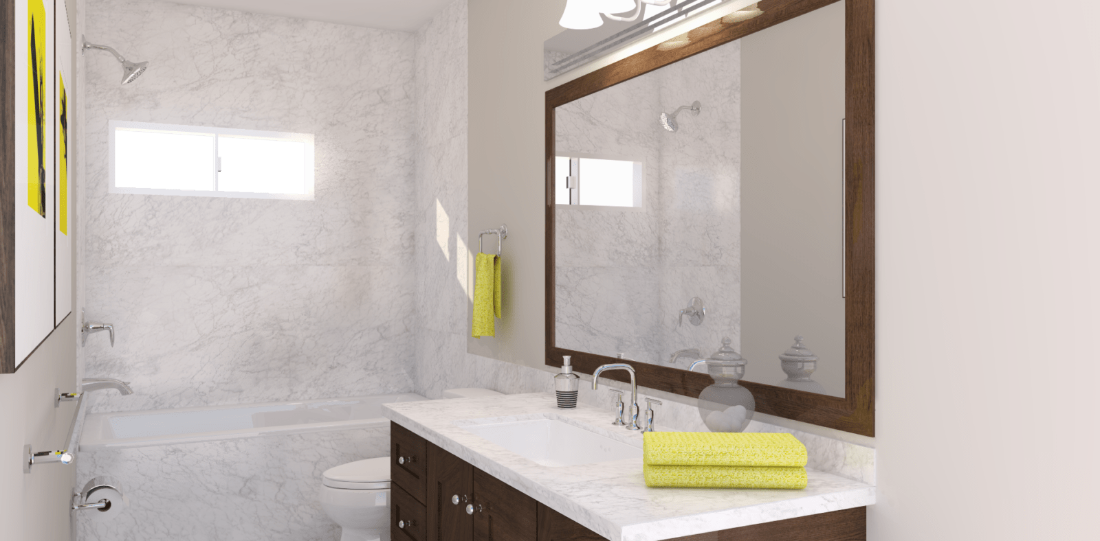 Neutral Bathroom with Green and Brown Accents