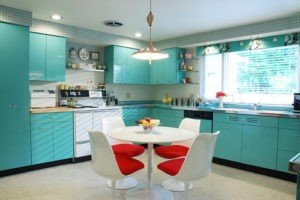 Bright plastic mixing modern with retro.