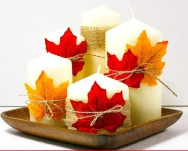 Fall leaf candle centerpieces