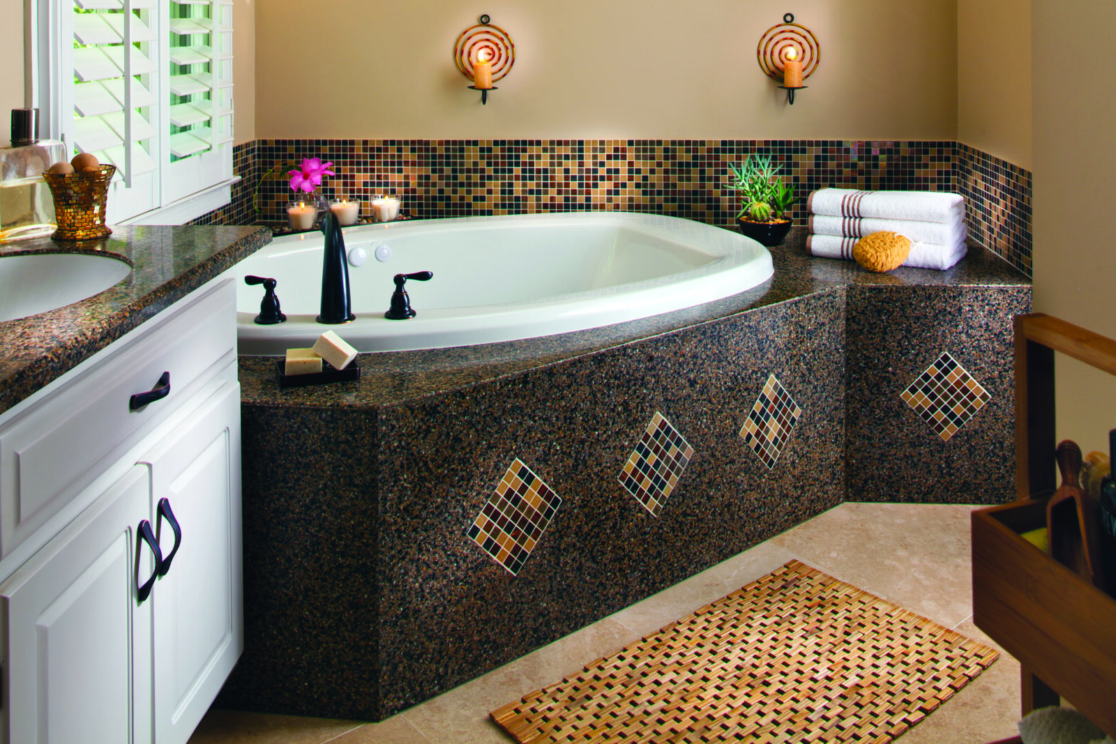Terra Ombra Engineered Granite With Excalibur Mosaic Tiles