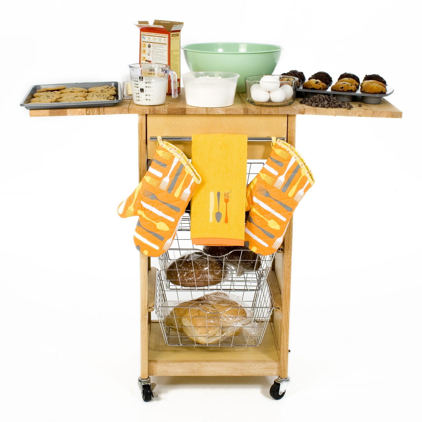 Portable or rolling kitchen islands are great for extra storage and counter space.