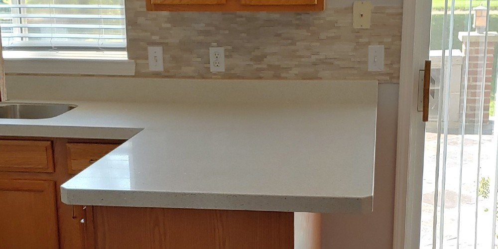 close up of white quartz countertops