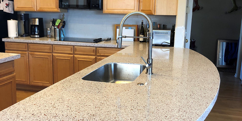 white copper kitchen countertops and sink