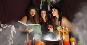 Teenage witches with hats