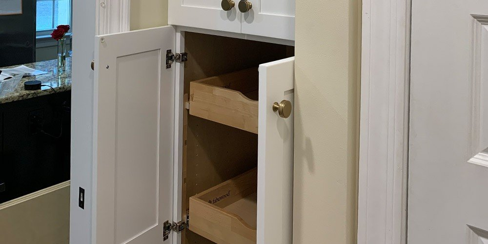 cabinet with rollout shelves