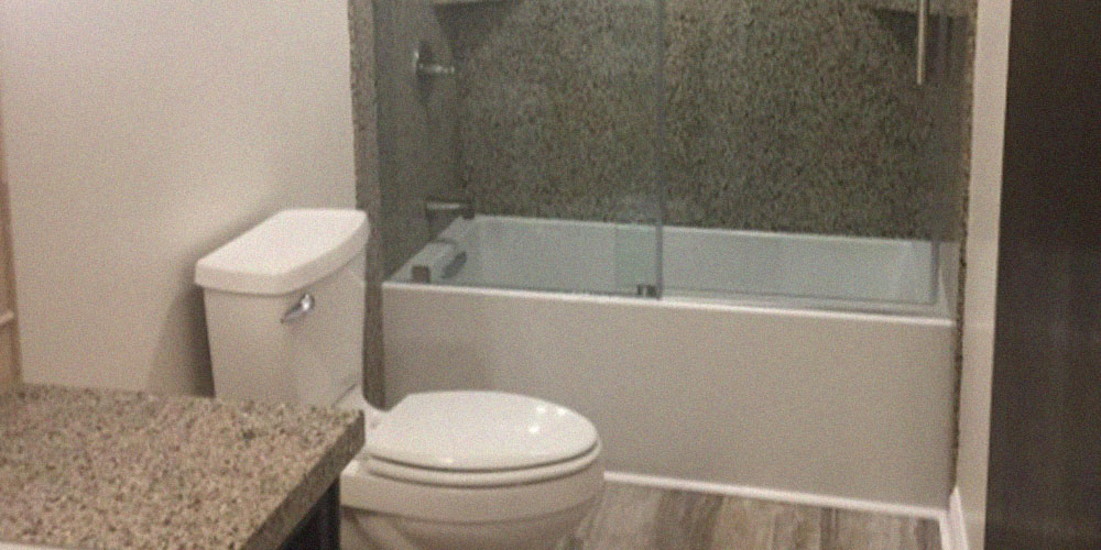 small bathroom remodel with new granite shower slabs