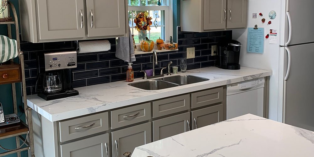 kitchen transformation with grey cabinets