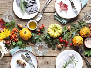 GT Thanksgiving table setting on white wood table
