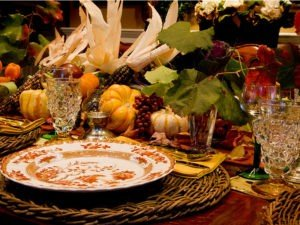 GT Thanksgiving Table setting with center piece