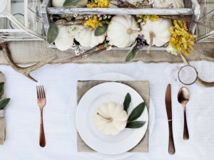 GT Thanksgiving table setting with festive runner