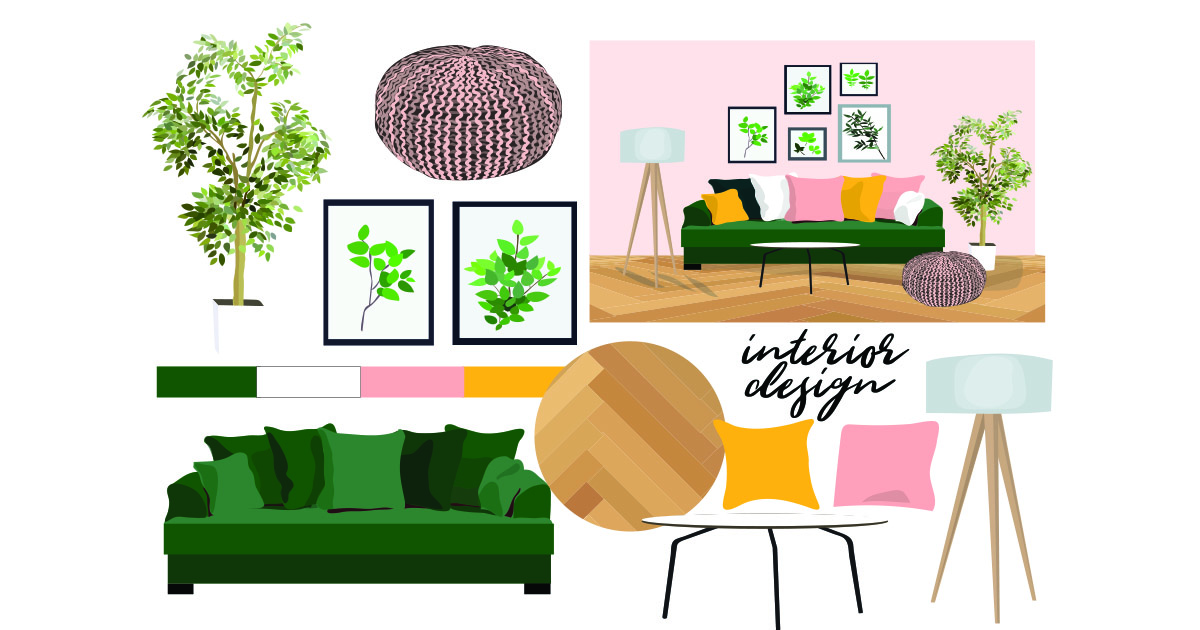 Interior Design Mood Board with tree, sofa, lamps