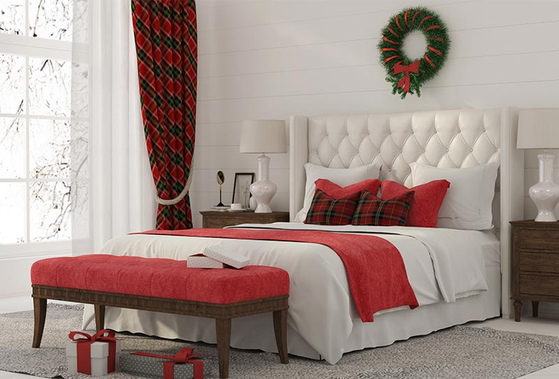Bedroom decorated for the holidays