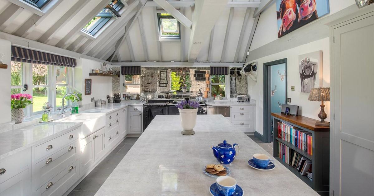 GT White Kitchen with white granite island
