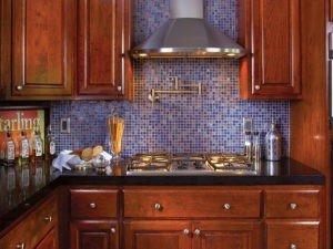 GT Kitchen with blue mosaic back splash