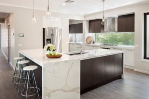GT Contemporary Kitchen with Waterfall Island