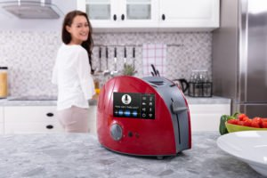 GT Red Appliance Toaster on Kitchen Counter