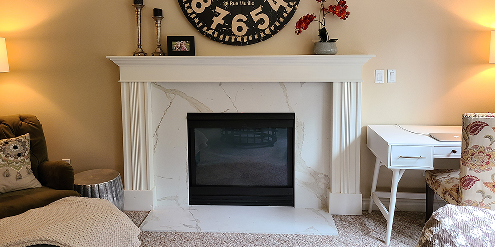 Marble look fireplace surround