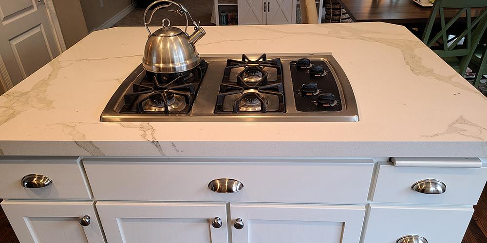 Kitchen island with stove