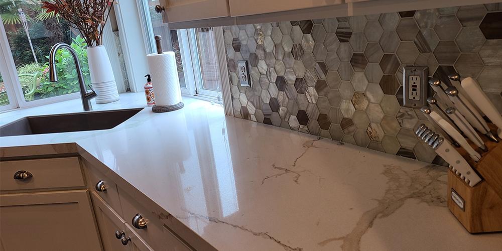 Countertop, backsplash, and sink
