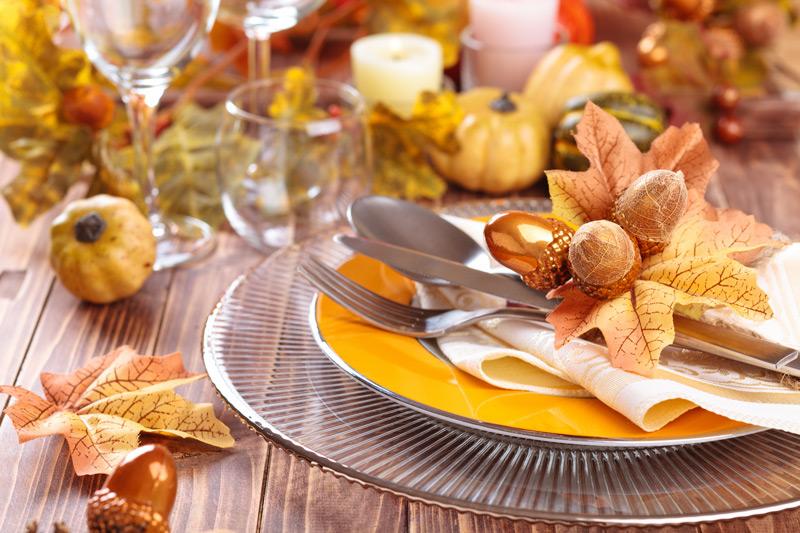 Fall-themed table settings
